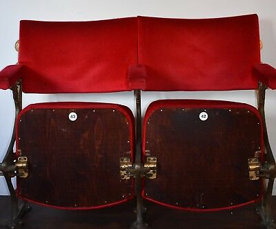Mounted Pair of Vintage 1930's Art Deco Cinema Theatre Seats