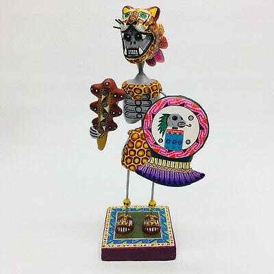 Saul Montesinos Aztec Warrior Jaguar Day Dead Mexican Folk Art Dia Los Muertos
