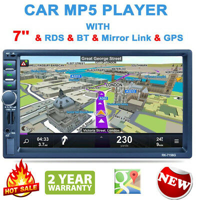 "Double 2 Din 1080P 7""Touch Screen Car FM MP5 Stereo Player Radio GPS Sat Nav USB"