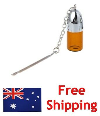 1 x Glass Vial Bottle Stash Snuff Snorter with Spoon - FREE POST