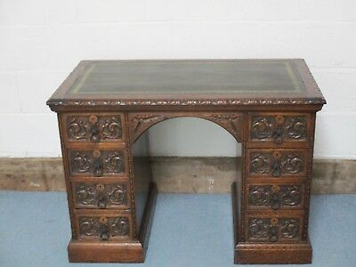 Antique Oak Desk Victorian Beautiful Carving With Dark Green Leather Tooled Top