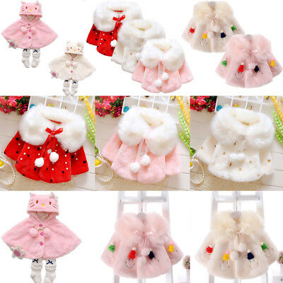 Fur Pom Baby Girl Cloak Coat Infant Kid Fleece Jacket Outwear Cape Snowwear 0-3Y