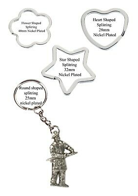 Small Fireman Pewter Emblem split-ring Heart Star key ring keyring codeUS146