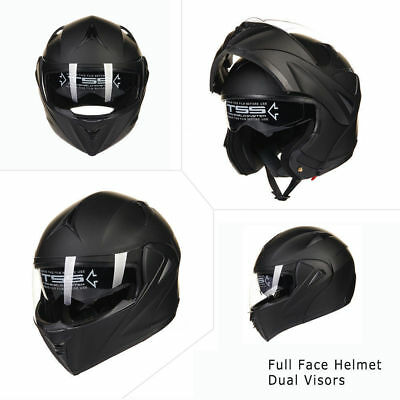 Full Open Face Fashion Modular Flip Up Dual Visor DOT Motorcycle Street Helmet