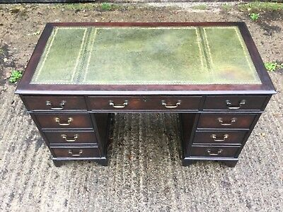 Mahogany Pedestal Desk With Leather Insert