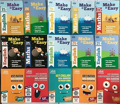 Letts Make it Easy workbooks & Letts Success SATs books for (Ages 3-11 Years)