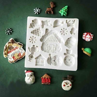 Silicone House Fondant Mold Christmas Cake Deer Snow Santa Claus Baking Mould UK