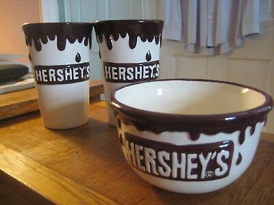 3 Hershey's Ice Cream Dish Dripping Chocolate Ceramic Cup Milkshake Floats 16 oz