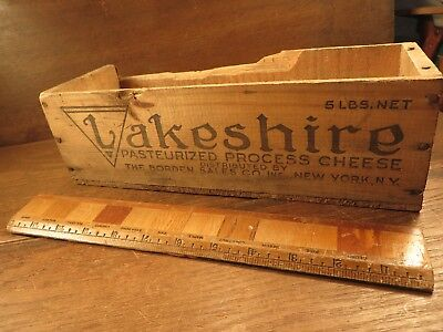 Old Antique LAKESHIRE 5 lbs Wood Cheese Box Rustic Primitive