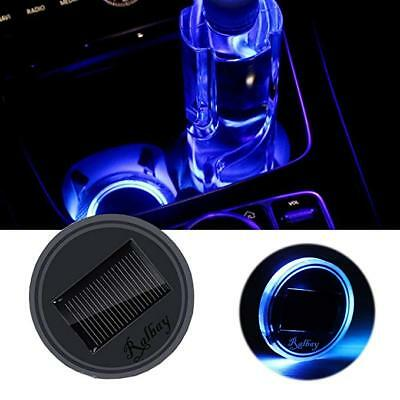2PC Solar Cup Pad Car LED Light Cover Interior Decor Lights USB Charging 2.68""