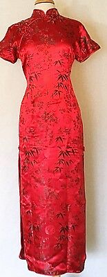 Classic Brocade Chinese Cheongsam Qipao Dress with Dragon Prints Ankle Length
