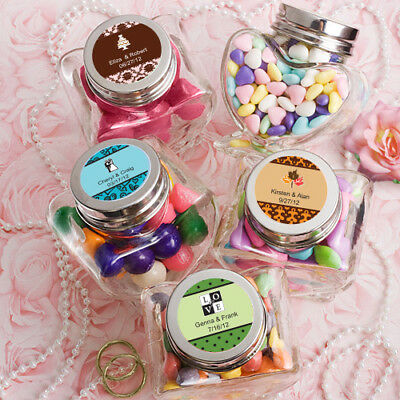 Pack of 18 Personalised Heart Shaped Glass Jars ~ Wedding, Party & Event Favors