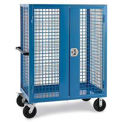 """Wire Security Truck, 48""""W x 24""""D x 60""""H, 8"""" Black Mold-on Rubber Casters, Blue,"""