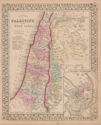 Palestine or Holy Land Antique Map Mitchell 1868 Original