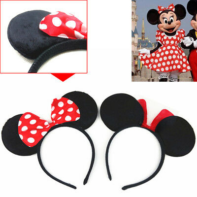 UK MINNIE MOUSE EARS HEADBAND Fancy Dress Disney Spotted Bow Ladies Kids Girls