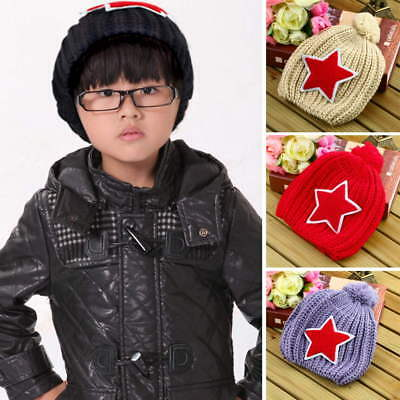 New Arrival Baby Infant Toddler Kids Winter Warm Beanie Hat 5-pointed Star NP