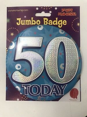 Giant 3D Jumbo 50th Birthday Badge Table Decoration Blue 50 Today