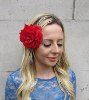 Large Bright Red Rose Flower Hair Clip Fascinator Wedding Races Headpiece 6131