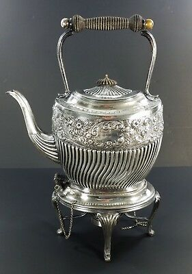 Antique Sheffield Silverplate Repousse' Tilting Hot Water Kettle on Stand