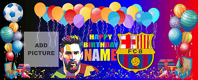 Banner Birthday Party Barcelona FC Messi  Customized