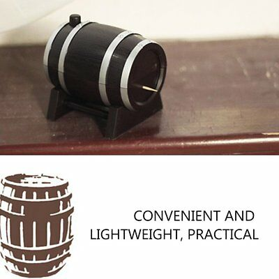 Portable Automatic Wine Barrel Shaped Toothpick Holder Plastic Box Container SG