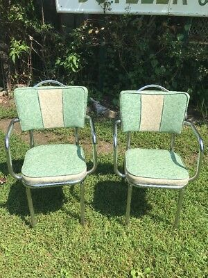Vtg 2pc RARE Mid-Century 1950s Green Ice Naugahyde CAPTIAN'S Kitchen Chair Arms