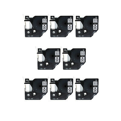8PK Black on White Label Tape for DYMO 43613 D1 Labelmanager 400 420P 6mm 1/4""