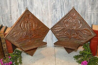 Antique Pair English Carved Wood Wall Mount Folding Shelves Floral Shelf Bracket