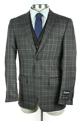 NWT STACY ADAMS Grey Brown Plaid 2Btn Single Pleat 3 Piece Suit +Vest 38 R +Pin