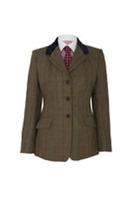 "Caldene Ss18 Tex Competitionjacket Silverdale Tweed Brown - Maids 32"" - Cal3459"