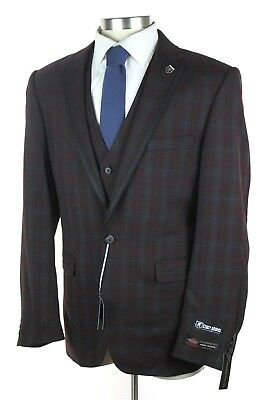 NWT STACY ADAMS Burgundy-Green Windowpane 1Btn 3 Piece Suit +Vest 44 L +Pin