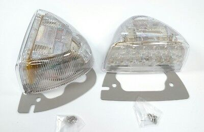 Pair Amber LED Side Turn Signals w/ Clear Lenses for Peterbilt 379 359 Headlight