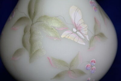 Fenton Burmese Glass Lotus Mist Butterfly & Berry Frill Top Vase Signed