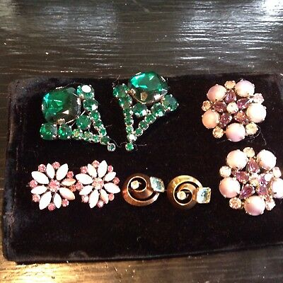 4 pair of Vintage Rhinestone double Pin Sets (8 pins total)