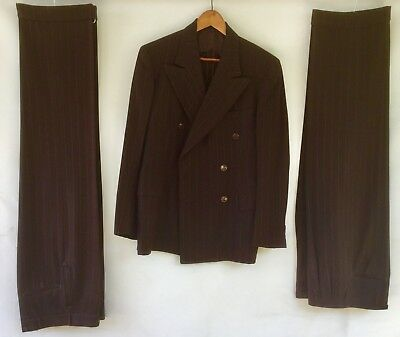 VINTAGE 1940s Men's DOUBLE-BREASTED PINSTRIPE SUIT Brown/Blue w/2 PAIRS of PANTS