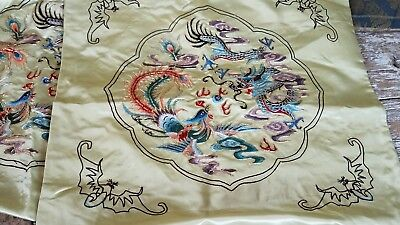 Pair VTG Chinese Embroidered Green Silk Pillow Cover Metallic Dragon Retro Asian