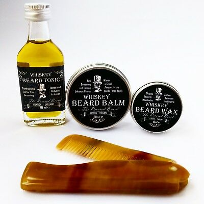 Whiskey Beard Oil, Beard Balm, Beard Wax and Ox Horn comb Kit by Revered Beard