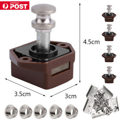 5X Mini Push Button Drawer Cupboard Door Catch Lock Latch Knob Caravan Motorhome