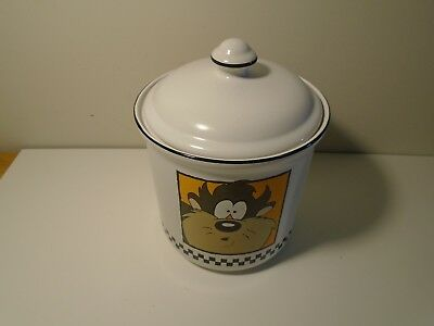 VINTAGE Warner Brothers Tasmanian Devil Puzzled Taz White Cookie Jar Canister