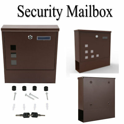 Wall Mounted Door Home Security Mailbox Letter Case Safe Box with 2 keys USA