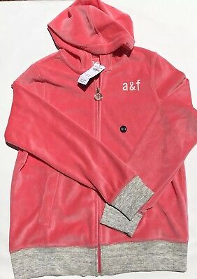Abercrombie & Fitch Girls 13/14 Hoodie Sweater Zip Up Pink A&F Sport NEW w/tag