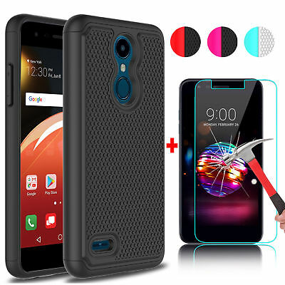 For LG K30/Premier Pro LTE Shockproof Phone Case+Tempered Glass Screen Protector