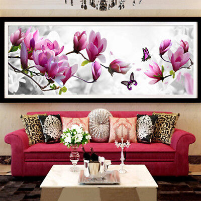 AU Magnolia Butterfly Handcraft DIY 5D Diamond Painting Wall Decor Gift Reliable
