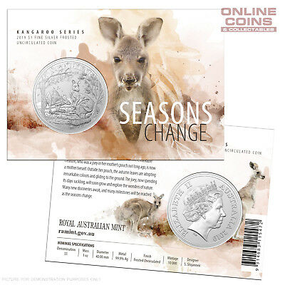 2019 RAM  $1 Silver Frosted Unc Coin - Kangaroo Series - Seasons Change - AUTUMN