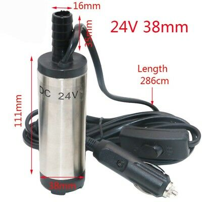 Mini 12V/24V Fuel Water Car Aluminium Submersible Transfer 38mm Pump With Filter