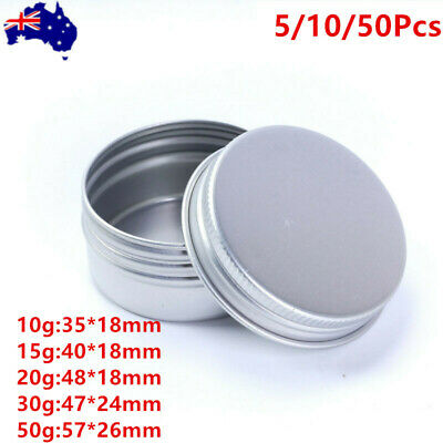 Empty Aluminium Cosmetic Pot Jar Silver Tin Container Round Box with Lid 10-25ml