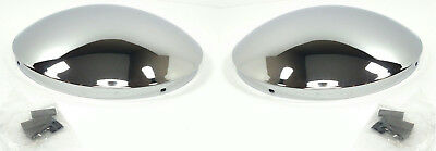 "Pair (2) Chrome Metal Hub Cap Un-notched Dome Semi Truck (8-23/32"" Hub,1/2"" Lip)"