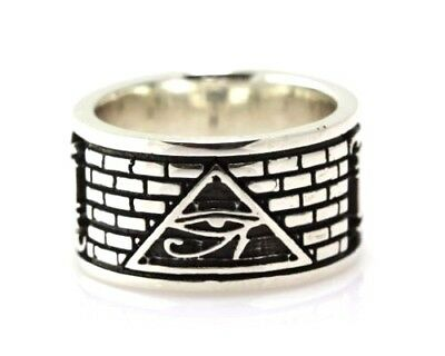 Wadjet Eye of Horus Ancient Egyptian Symbol Illuminati Ring Sterling Silver 925