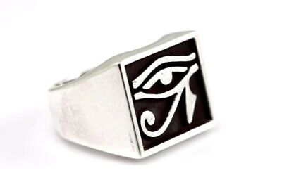 Eye of Horus Ring Wadjet Ancient Egyptian Symbol Square Silver 92.5% SZ 6-15 US