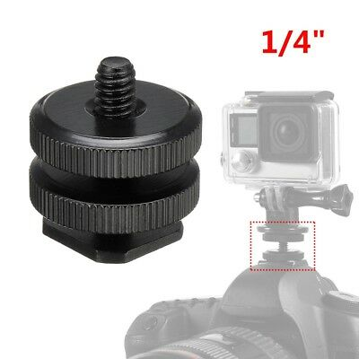 """1/4"""" Camera Dual Hot Shoe Adapter Mount for GoPro DSLR Video Light Stand GL"""